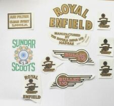 VINYL ROYAL ENFIELD  STYLE TRANSFER/STICKER SET. 10 STICKERS IN ALL. GREAT VALUE