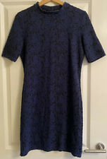 Womens Topshop Size 14 Blue Black Floral Print Short Sleeve Bodycon Dress