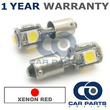 2x XENON rosso BA9S T4W 233 LUCI DI POSIZIONE UPGRADE 5 LED SMD LAMPADINE