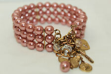 Vintage Bracelet with Goldtone Charms & 3 Rows of Mauve Faux Pearls A#