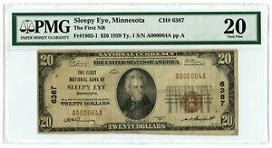 1929 $20 First NB of Sleepy Eye, Minnesota Very Low S/N A000064A PMG VF 20