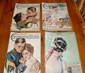 1918 Cosmopolitan Magazine Lot (4) Harrison Fisher Covers