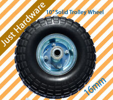 """2 x 10"""" Hand Trolley Wheel puncture proof 3.50-4 Solid Heavy Duty No Air 16mm"""