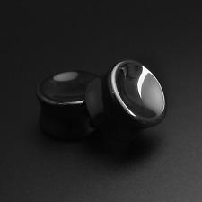 Black Onyx Concave Stone Plugs | Double Flare | Gauges | Stretcher |  6mm - 25mm