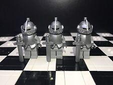 Lego Knight Minifigure X3 With Helmet / Armor / Sword / Kingdom / Castle