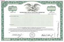 """New listing International Metals Acquistion Corporation.Abn """"Specimen"""" Stock Certificate"""