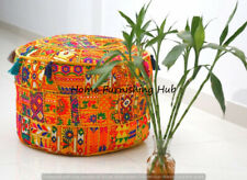 "18x14"" Handmade Cotton Ottoman Patchwork Round Indian Pouf Cover Stool Ethnic"
