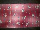 Vintage 60s Red White Gingham Flocked Chicks Juvenile Cotton Fabric Remnant Doll