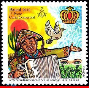 3236 BRAZIL 2012 LUIZ GONZAGA, SINGER, MUSIC, MASONRY, DOVE, RHM C-3242, MNH