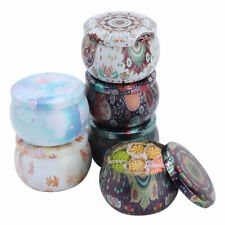 6Pcs Vintage Tin Jars Coffee Tea Spice Candy Jewelry Storage Case Candle Box New