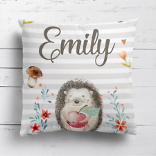 Personalised Cute Hedgehog Kids Childrens Cushion Cover Pillow Case Free Filling