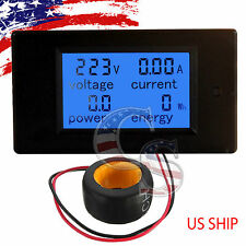 100A AC LCD Panel Digital Power Watt Meter Monitor Voltage KWh Voltmeter Ammeter
