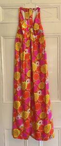 70s Vintage High Tide Pink Orange Hawaiian Halter Hostess Maxi Dress Sundress!