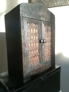 Antique Oriental Bamboo Smokers Cupboard collectors Box