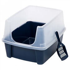 Cat Litter Box Tall Large Open Top With Shield Scoop Pet Enclosed Kitty Pan Navy