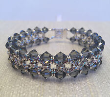 Handmade Chainmaille Bracelet Silver Filled with Black Translucent Crystals. 7in