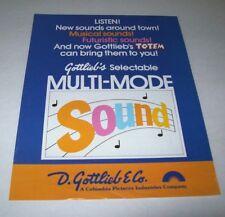 Totem Gottlieb 1979 Original Ss Pinball Machine Promo Sales Flyer Brochure