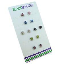 COLOR CRYSTAL FLOWER MAGNETIC CLIP ON STUDS EARRINGS FOR LITTE GIRLS KIDS WOMENS
