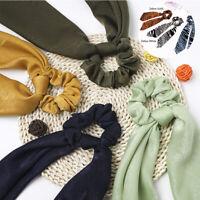 Leopard Satin Ponytail Scarf BowHair Band  Ties Ribbon Scrunchies Hair Rope