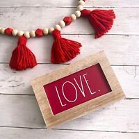 """Rae Dunn VALENTINES """"LOVE"""" Wooden Red Sign Farmhouse NEW . 8"""" X 5"""" X 2"""""""