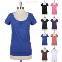 Short Sleeve Front Ruched Round U Neck Plain Cotton Tee Shirt Top Casual Easy