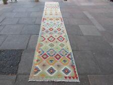 Vintage Kilim Traditional Hand Made Oriental Green Wool Kilim Runner 490x82cm