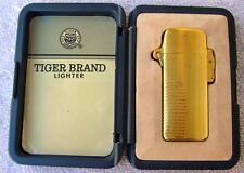 Vintage Tiger Brand Butane Cigarette Lighter Gold Tone Unused In Box