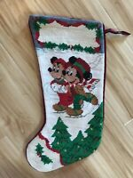 Disney Parks Mickey Minnie Mouse Ice Skating Christmas Stocking Holiday New