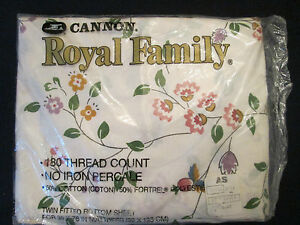 NOS! NWT! Vintage CANNON TWIN FITTED sheet: ROYAL FAMILY: no iron PERCALE!