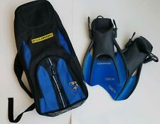U.S. Divers Snorkel Set Blue Yellow Backpack and Sz M 7 - 10 Fins EUC