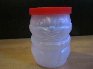 """RARE"" Vintage Squirrel Plastic Peanut Butter Jar Coin Bank-6.25"" High X 4.5"" W"