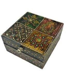 Indian Wooden Jewellery Box Chest Drawers Storage Hand Crafted Painted Bohemian