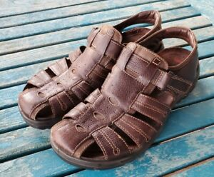 ECCO Brown Leather Rugged Fisherman Sandals Woven Cork Footbed Men's size 45, 11