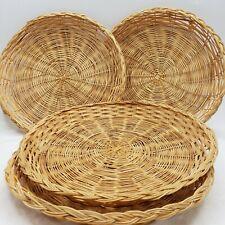"Wicker Paper Plate Holders Bamboo Rattan Woven 9.5"" Set Of 4 Boho Wall Decor"