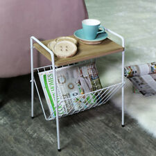 White vintage retro wood side table magazine rack holder living room storage