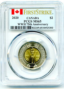 2020 CANADA $2 TOONIE PCGS MS65 WWII 75TH V-E DAY VE-DAY TWO DOLLAR FIRST STRIKE