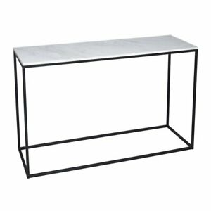Gillmore White Marble and Black Metal Contemporary Console Table