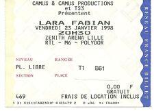 RARE / TICKET BILLET DE CONCERT - LARA FABIAN : LIVE A LILLE ( FRANCE ) 1998