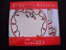 Fitz And Floyd Cheers Snack Plate And Spreader 2006 Snowman Christmas NEW In Box
