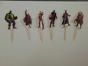 12 x Avengers superhero CUPCAKE TOPPER Party Supplies Lolly Loot Bag