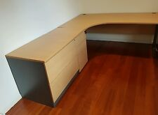 Huge Beech Desk with Return, Lateral File and 3 Drawer Pedestal - EUC