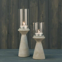 Grey Cement Stone Tea Light Candle Holders Lantern with Glass Hurricane