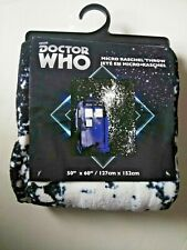 "Doctor Who Bbc Micro Raschel Throw Blanket Brand New! 50""x60"""