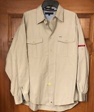 Vintage 2002 Tommy Hilfiger L/S Button Khaki Shirt Size L Large Excellent Cond