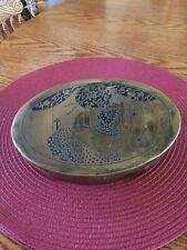 VINTAGE ART DECO ENAMELED OVAL HINGED BRASS BOX