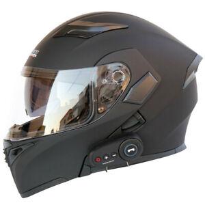 DOT Motorcycle Headset Bluetooth Helmet Modular Dual Visor Flip Up Full Face