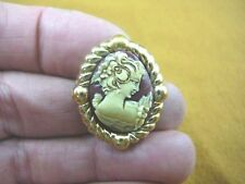 (CS91-24) Small Woman burgundy + ivory oval CAMEO brass Brooch pin Pendant