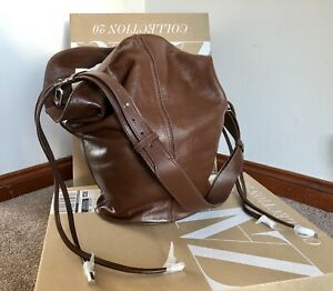 ZARA BRAND NEW £119 Extra Large Maxi Bucket Duffle Drawstring Bag Real Leather