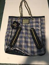 Betseyville large Blue Black Sequin plaid Handbag Purse