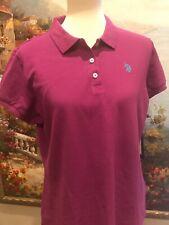 US Polo Assn Juniors Solid Pique Polo Shirt Purple Girls XL New